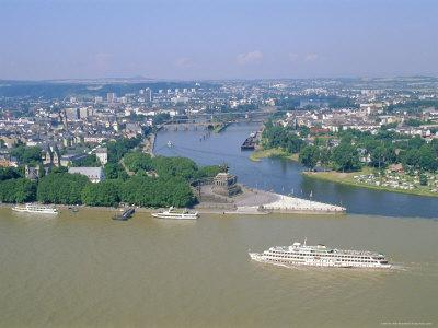 Aerial View Over the Junction Between the Rhine River and the Mosel River at Koblenz, Palatinate