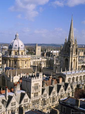 Aerial View Over the Dome of the Radcliffe Camera and a Spire of an Oxford College, England, UK