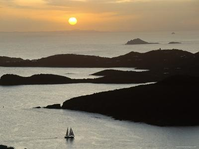 Sunset Over Inlet to Charlotte, Amalie, St. Thomas, Us Virgin Islands, West Indies