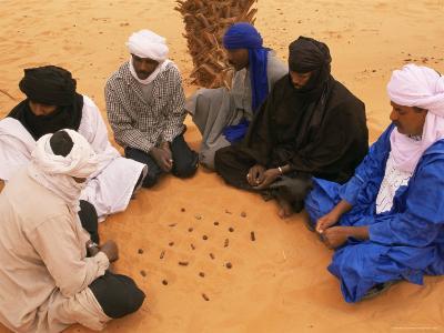 Tuaregs Playing Haraghba, Southwest Desert, Libya, North Africa, Africa