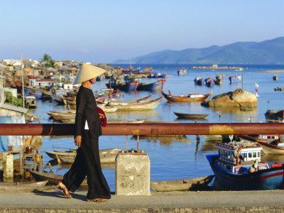 Woman on Xom Bong Bridge, Nha Trang, Vietnam, Asia