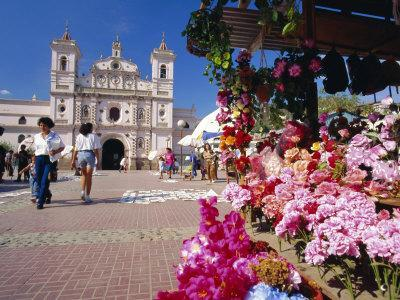 The Church of Virgin De Los Dolores and Flower Stall, Tegucigalpa, Honduras, Central America