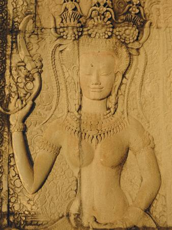 Relief Carving on the Temple at Angkor Wat, Angkor, Siem Reap, Cambodia, Indochina, Asia