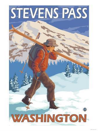 Skier Carrying Snow Skis, Stevens Pass, Washington