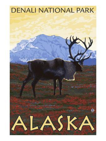 Caribou Scene, Denali National Park, Alaska