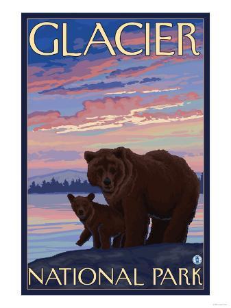 Bear and Cub, Glacier National Park, Montana