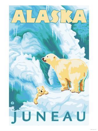 Polar Bears & Cub, Juneau, Alaska