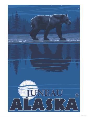 Bear in Moonlight, Juneau, Alaska