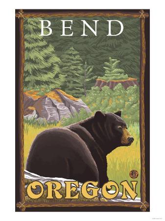 Black Bear in Forest, Bend, Oregon