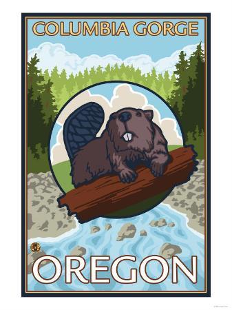 Beaver & River, Columbia Gorge, Oregon