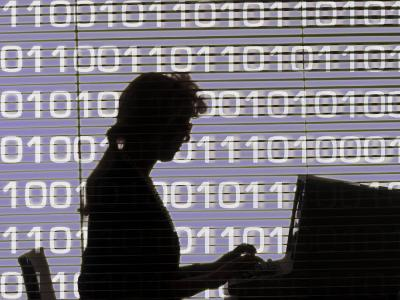 Silhouette of Woman Working on Computer