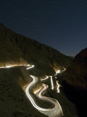 Car Light Trails at Night, Winding Curved Mountain Road, Dades, Gorge, Morocco, North Africa