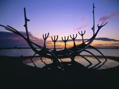 Seaside Monument at Sunset, Reykjavik, Iceland