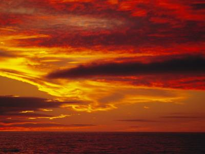 Dramatic Sky and Red Clouds at Sunset, Antarctica,, Polar Regions