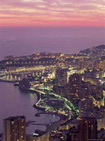 Evening View Over Monte Carlo, Monaco, Cote d'Azur, Mediterranean, Europe
