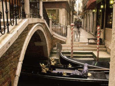 Gondolas Beside a Bridge, Venice, Veneto, Italy, Europe