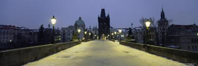 Charles Bridge in Winter Snow, Prague, Unesco World Heritage Site, Czech Republic, Europe