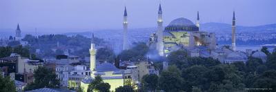 Panoramic View of Aya Sophia Mosque at Dusk, Unesco World Heritage Site, Turkey