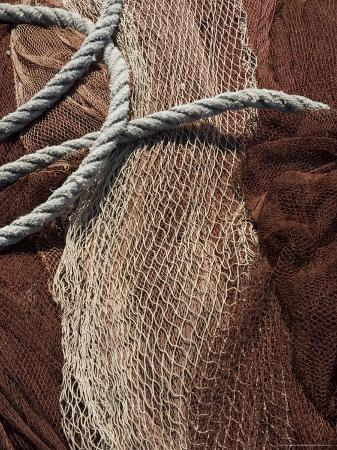 Fishing Nets, Saint Jean De Luz (St.-Jean-De-Luz), Basque Country, Aquitaine, France