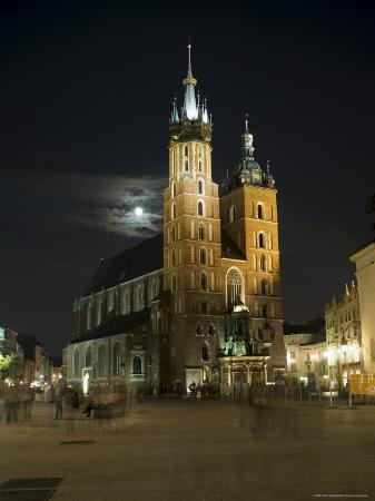 Night Shot of Saint Mary's Church or Basilica, Unesco World Hertitage Site, Poland