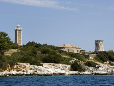 Lighthouse and Old Ruined Lighthouse, Fiskardo, Kefalonia (Cephalonia), Greek Islands, Greece