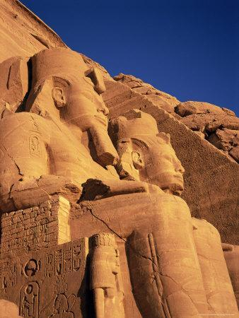 Large Carved Seated Statues of the Pharaoh, Temple of Rameses II, Nubia, Egypt