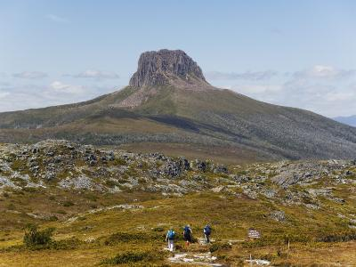 Hikers on the Overland Track in Cradle Mountain Lake St. Clair National Park, Tasmania, Australia
