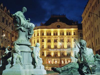 Statues at Fountain and Pension Neuer Markt at Neuer Markt Square, Innere Stadt, Vienna, Austria