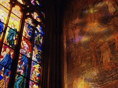Stained Glass Window Throwing Light on Fresco, St. Vitus Cathedral, Prague, Czech Republic