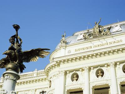 Statue and Detail of Facade of Bratislava's Neo-Baroque Slovak National Theatre, Slovakia, Europe