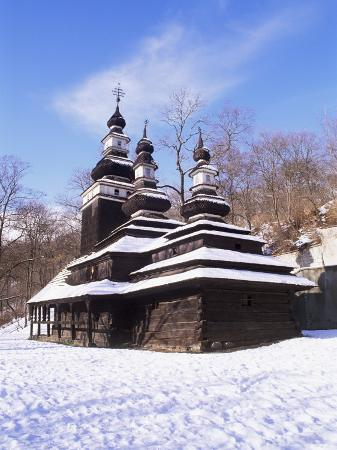Christian Orthodox Wooden Church of St. Michael from the 18th Century, Prague, Czech Republic