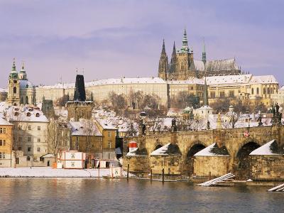 Prague Castle, Charles Bridge, Vltava River and Suburb of Mala Strana, Prague, Czech Republic