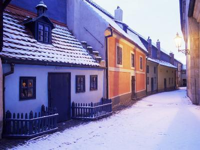 Snow Covered 16th Century Cottages of Golden Lane in Winter Twilight, Hradcany, Czech Republic
