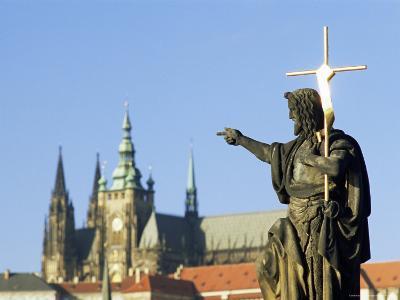 Statue of St. John the Baptist, Dating from 1857, on Charles Bridge, Prague, Czech Republic