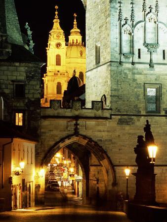 Romanesque and Gothic Malostranske Bridge Towers, Prague, Czech Republic