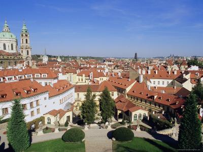 Baroque St. Nicholas Church and Mala Strana Roofs from Vrtbovska Garden, Czech Republic, Europe