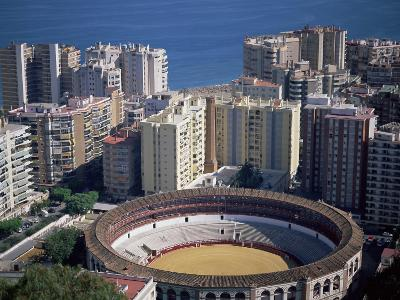 Aerial View Over the Bullring and City, Malaga, Costa Del Sol, Spain, Mediterranean