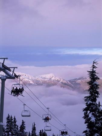 Chair Lift in the Early Morning, 2010 Winter Olympic Games Site, Whistler, British Columbia, Canada