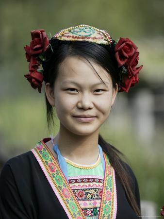 Young Woman of Yao Minority Mountain Tribe in Traditional Costume, Guangxi Province, China
