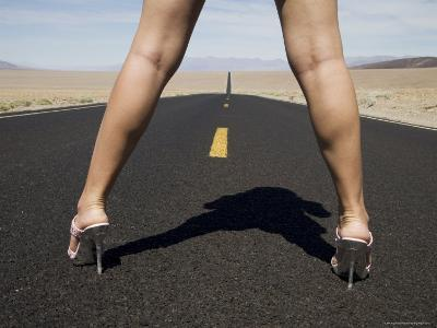 Woman in High Heels on Empty Road, Death Valley National Park, California