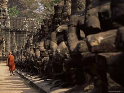 Buddhist Monk Approaching South Gate, Angkor Thom, Angkor, Cambodia, Indochina