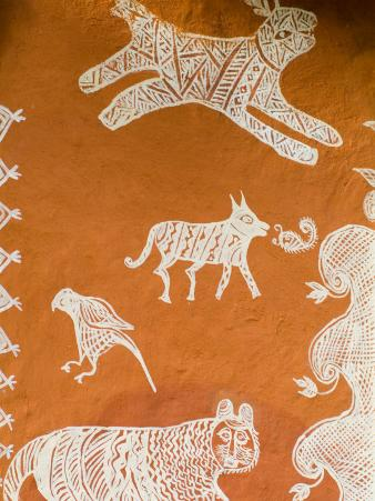Close-up of Painting in Ranthambore National Park, Rajasthan, India