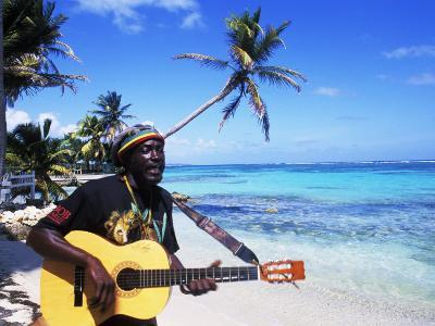 Reggae Singer with Guitar on Beach, Sainte Anne, Guadeloupe