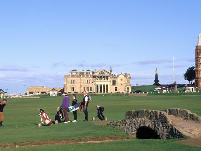 18th Hole and Fairway at Swilken Bridge Golf, St Andrews Golf Course, St Andrews, Scotland