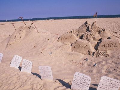 Boardwalk Beach Sand of Christ, Ocean City, Maryland, USA