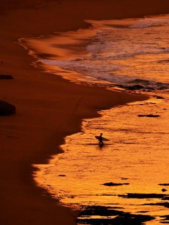 Surfer at Dawn, Gibson's Beach, Twelve Apostles, Port Campbell National Park, Victoria, Australia