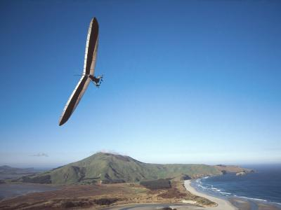 Hang Gliding on Coastline, New Zealand