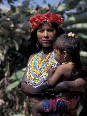 Embera Mother and Child, Hands Black from Body Dye, Embera Indian Village, Gatun Lake, Panama