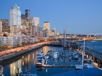 Skyline from Pier 66 with Elliott Bay, Seattle, Washington, USA