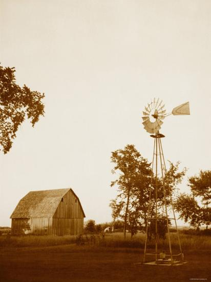Country Days Sepia Windmill And Barn Photo At Allposters Com